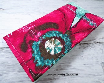Giant distressed red poppy in teal Handmade Vegan checkbook cover / wallet