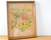 Vintage Framed Spring Flower Print • Cheery Spring Watercolor Print • Tulips Daffodils Lilly of the Valley