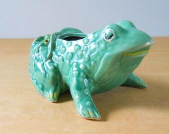 Vintage McCoy Frog Planter • Mid Century McCoy Planter • 1950s American Pottery Planter