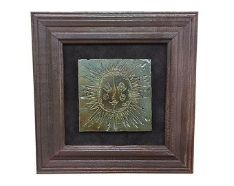 1960s Metal Sun Art Piece | Vintage Framed Sunshine Wall Hanging | Mid Century Home Decor | MCM Retro Style