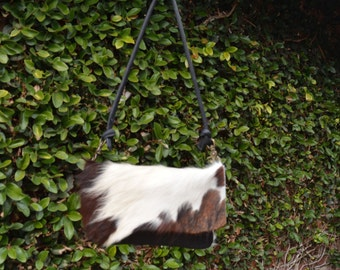 Black, Brown and White Cow Hair Hide with White Deer Leather Convertible Clutch, Shoulder and Hip Bag