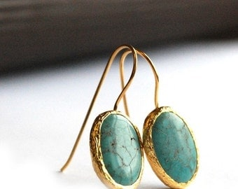 15% Discount Turquoise Oval Earrings in silver coated with 18Karat Gold