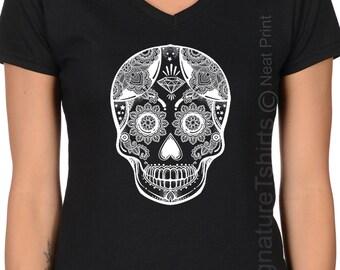 Sugar Skull T shirt - Sugar Skull - Black Skull Shirt - Sugar Skull Clothing - Skull Clothing - Boho Clothing -Halloween Shirt - Plus V neck