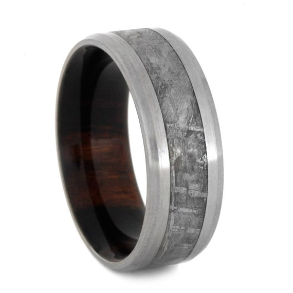 Man Meteorite Wedding Band Wood Ring With By Jewelrybyjohan
