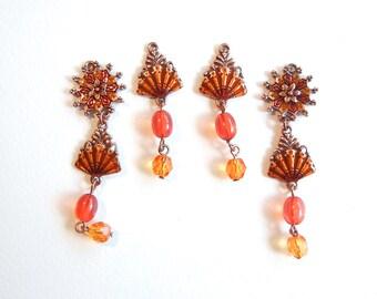 Set of Fan Drop Charms Copper-tone Red Orange