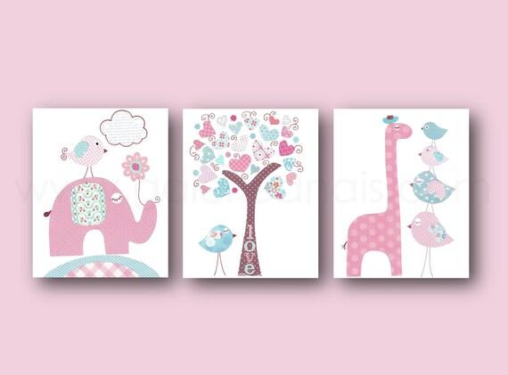 Pink blue nursery art baby girl nursery decor kids by for Baby girl nursery paintings