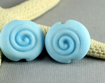 Made to Order - One Pair of Sky Blue Flat Spree Beads, Lampwork Beads, Handmade Glass Beads, SRA Beads