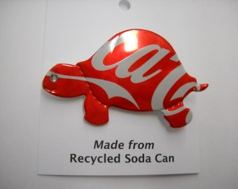 Magnet/ Pin Coke Turtle Recycled Can