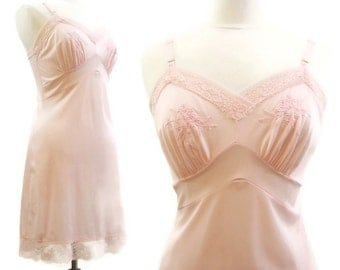 Vintage 60s Slip Pink Embroidered lace Mini Queentex Nylon 34
