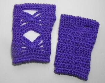 Fingerless Gloves Womens Purple