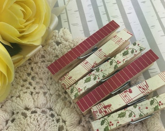 Noel Christmas Holiday Magnetic Clothespins Set of 6