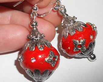 Red earrings, chunky jewelry, statement earrings, statement jewelry, gypsy earrings, funky red jewelry, bohemian jewelry, mothers day gift