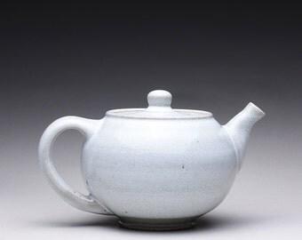 handmade ceramic teapot, tea kettle with green celadon and white glazes
