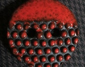 Ceramic Button: Red Hot Polka Dots on Black Basaltic Stoneware