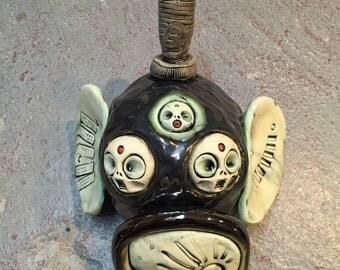 Japanese oni , wall hanging, ceramic mask
