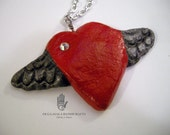 Salt Dough Clay Winged Red Heart Pendant