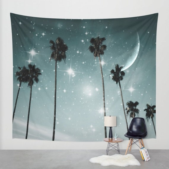 Palm Trees Starry Night Wall Tapestry, TropicalTapestry, Large Size Wall Art, Modern Decor, Nature, Moon, Stars,Garden,Beach Hut Decor, Dorm