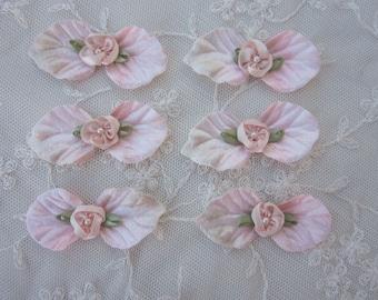 6 pc Flower Applique PINK Peach Velvet Leaf Satin Ribbon Pearl Embellished Baby Dog Bow Bridal Applique