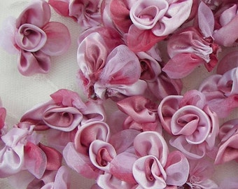 12 pc PINK Satin Organza Ribbon Fabric Rose Flower Applique Bridal Bouquet Baby Doll