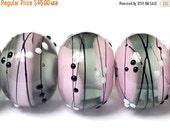 ON SALE 30% OFF Six Princess Party Rondelle Beads - Handmade Glass Lampwork Bead Set 10109821