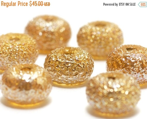 ON SALE 50% OFF Seven Golden Yellow Metallic Rondelle Beads - Handmade Glass Lampwork Bead Set 10801201
