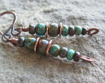 Rustic Copper Mixed Color Beaded Stack Earrings Autumn Earrings