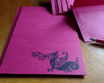 Letter Set Stationery Red Dragon 24 pages and choose your number of Envelopes