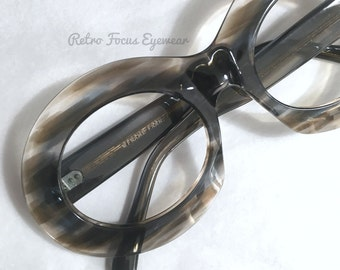 Oversized Unique Oval Brown Blue Watercolor Brushstroke Artist Mask Shield Eyeglasses French Vintage 60's Made in France