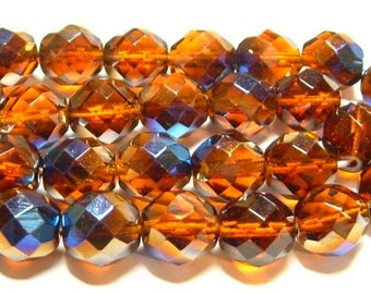 BEADS Czech Large 12mm Topaz Brown with Metallic Peacock Iris Blue AB Finish (6)