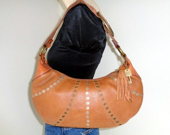 Fossil bag ,purse , hobo soft thick buttery  genuine leather camel tan brass Fossil fob vintage MINT condition med size