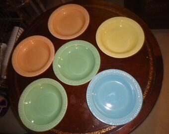 RARE 6 Vintage Laurella Pottery Dinnerware Soup Bowls