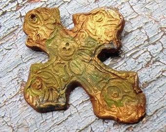 161. Viking Hoard Viking Cross Medallion Copper Gold Moss Green Burgundy Earthenware Pendant Tile Cabochon