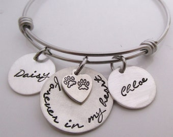 Reserved Pets Memorial Bracelet Gift - Forever in my Heart Bracelet - Dog Remembrance for two dogs - Pet Loss