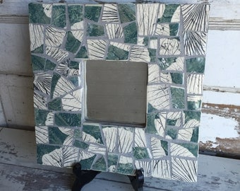 Handmade Pottery Mosaic Mirror - Leaves in Blue - Green and Gray