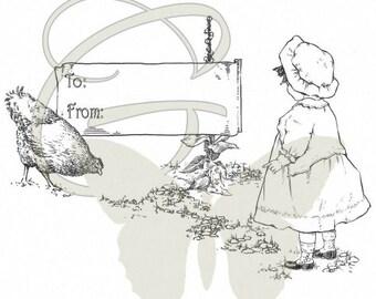Country Girl Printable Birthday Gift Tag Digital Download Illustration Child Transfer Design