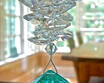 "Swarovski Antique Green Crystal Ball Suncatcher, Ornament, 30mm Ball and Swarovski Crystal Octagons, Rainbow Maker - ""CATHERINE AQUA"""