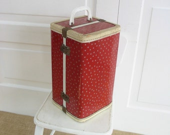 Vintage Doll Case Red White Stars Metal Storage