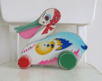 Vintage Pull Toy, Bird Pull Toy, Vintage Wood Toy, Pelican Toy, Made in Japan Toy