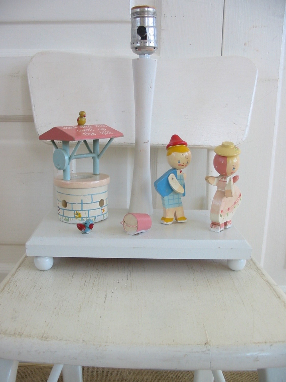 vintage boy girl nursery lamp baby lamp irmis wood by vintagejane. Black Bedroom Furniture Sets. Home Design Ideas