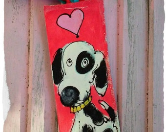 Dog Best Friend Hand Painted Canvas Bookmark