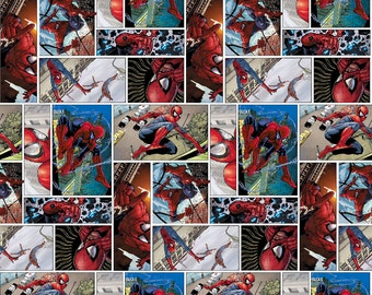 Spiderman Comicstrip  Fabric By The Yard FBTY