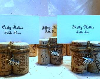Wine Cork Place Card Holders 3 Cork Bundle w/ Twine, Bottle Charm Wedding Reception Vineyard Wine Event Dinner Party Favor