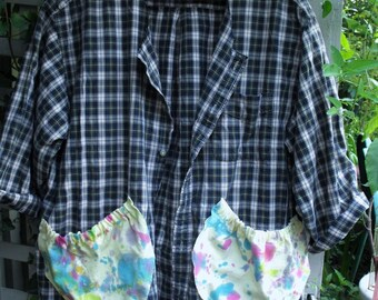 2-3X Garden Smock Upcycled Man's Shirt/ Plaid Tunic with Funky Splash Painted Pockets/ Sheerfab Funwear