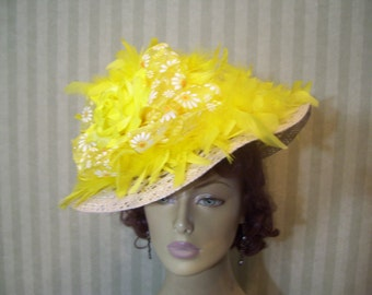 Kentucky Derby Hat Yellow Preakness Hat Easter Hat Tea party Hat Ascot Hat Alice in Wonderland Hat By Ms.Purdy
