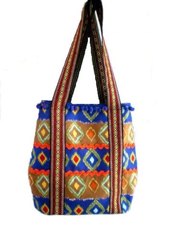 boho chic handbag, tribal bag, Aztec bag, gypsy bag, book tote, western bag, southwestern bag, market tote, knitting bag, shoulder bag