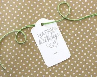 Happy Birthday Letterpress Gift Tag, luggage shape - set of 3