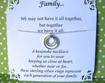 GRANDMA NECKLACE - Great Grandmother Gift 3 or 4 Generations Family POEM Card Included Grandmother Jewelry Sterling Silver 3 Generations