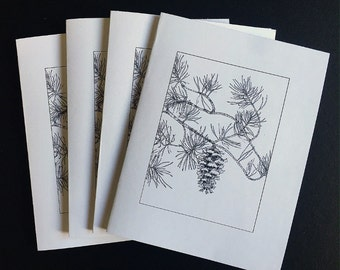 Pine Cone Note Cards Set of 4, Blank Card Set, Original Art Pine Cone Art Note Cards, Christmas Card Set, Art from Original Drawing Cards