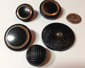 Vintage Button Lot Celluloid and Plastic Black