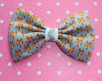Lovely Fox Hair bow Clip in grey